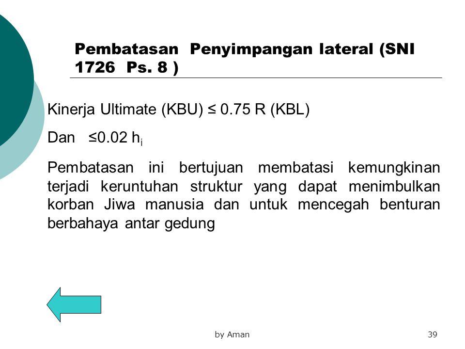 Pembatasan Penyimpangan lateral (SNI 1726 Ps. 8 )