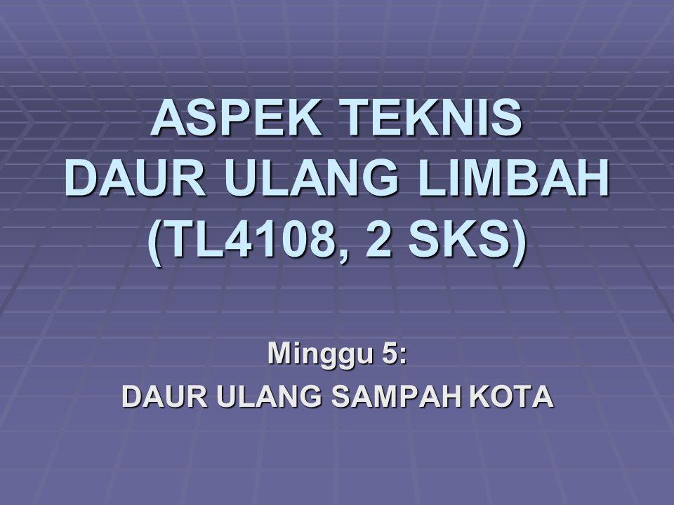 ASPEK TEKNIS DAUR ULANG LIMBAH (TL4108, 2 SKS)
