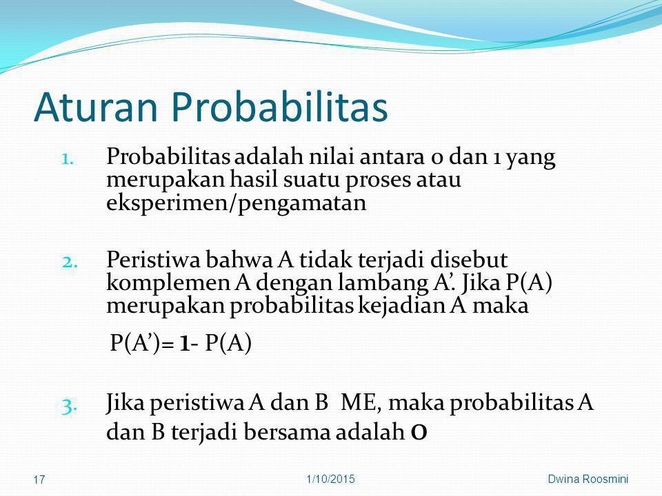Aturan Probabilitas Probabilitas adalah nilai antara 0 dan 1 yang merupakan hasil suatu proses atau eksperimen/pengamatan.
