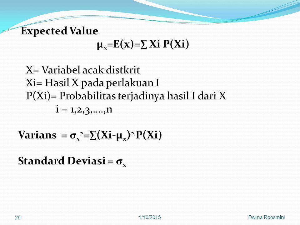 X= Variabel acak distkrit Xi= Hasil X pada perlakuan I