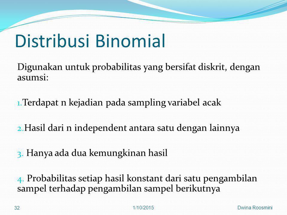 Distribusi Binomial Digunakan untuk probabilitas yang bersifat diskrit, dengan asumsi: Terdapat n kejadian pada sampling variabel acak.
