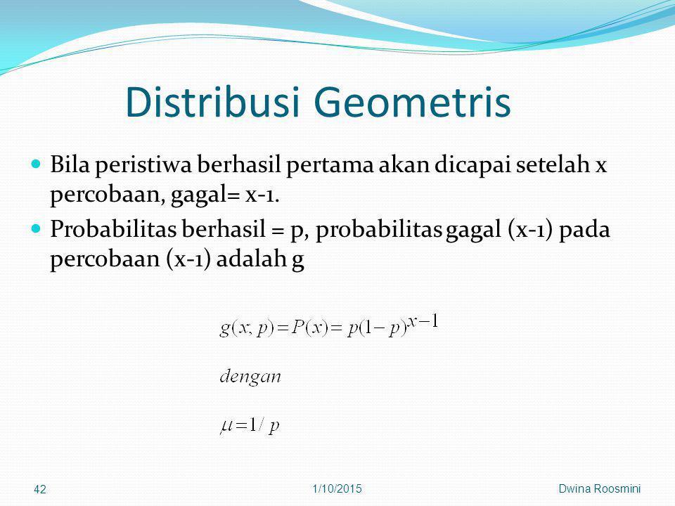 Distribusi Geometris Bila peristiwa berhasil pertama akan dicapai setelah x percobaan, gagal= x-1.