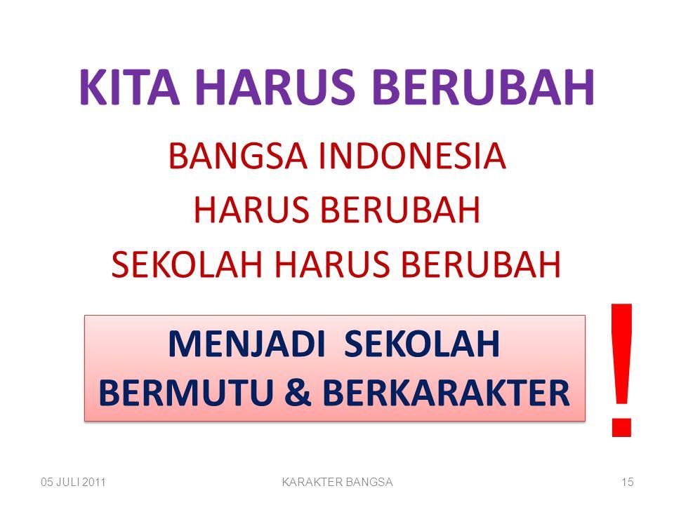 BANGSA INDONESIA HARUS BERUBAH SEKOLAH HARUS BERUBAH