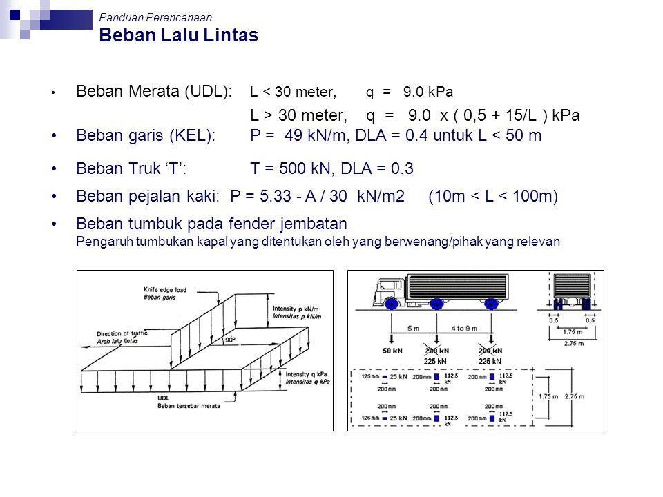 Beban Lalu Lintas Beban Merata (UDL): L < 30 meter, q = 9.0 kPa