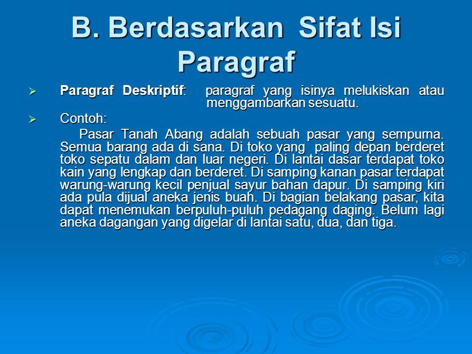 B. Berdasarkan Sifat Isi Paragraf