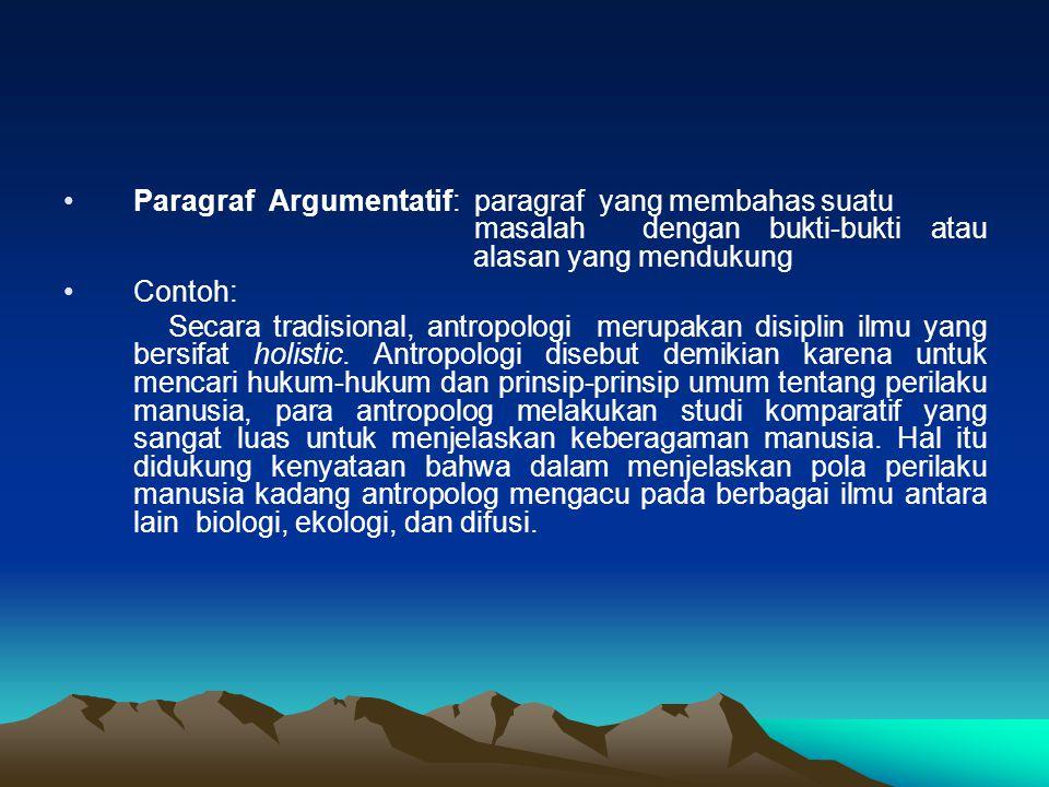 Paragraf Argumentatif: paragraf yang membahas suatu