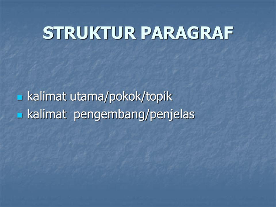 STRUKTUR PARAGRAF kalimat utama/pokok/topik