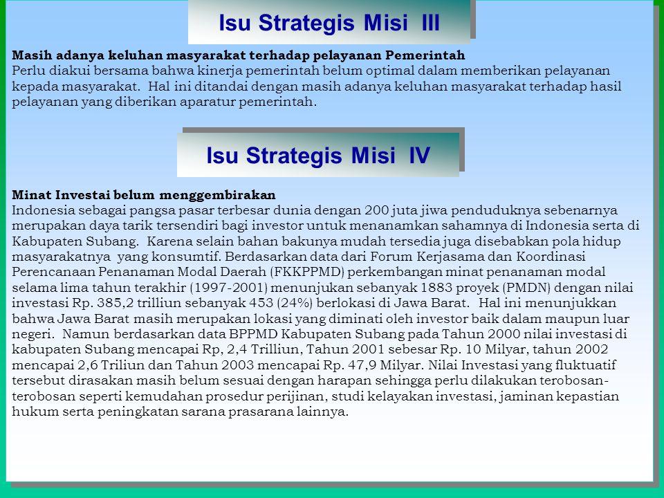 Isu Strategis Misi III Isu Strategis Misi IV