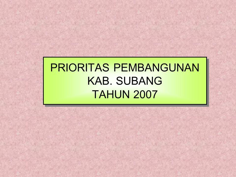 PRIORITAS PEMBANGUNAN KAB. SUBANG TAHUN 2007