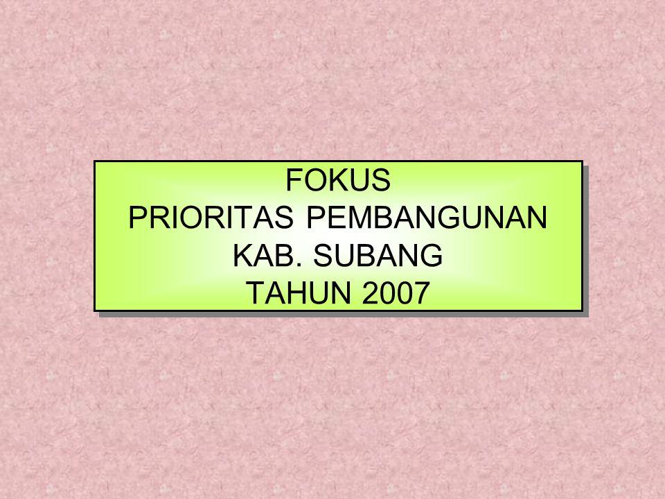FOKUS PRIORITAS PEMBANGUNAN KAB. SUBANG TAHUN 2007