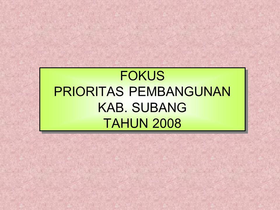 FOKUS PRIORITAS PEMBANGUNAN KAB. SUBANG TAHUN 2008