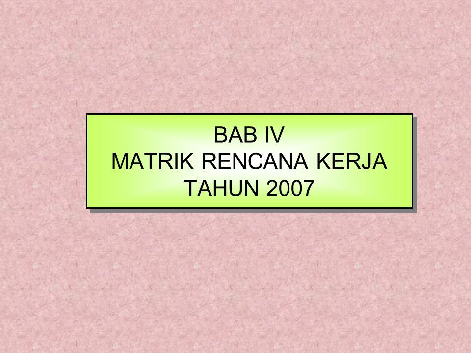 BAB IV MATRIK RENCANA KERJA TAHUN 2007