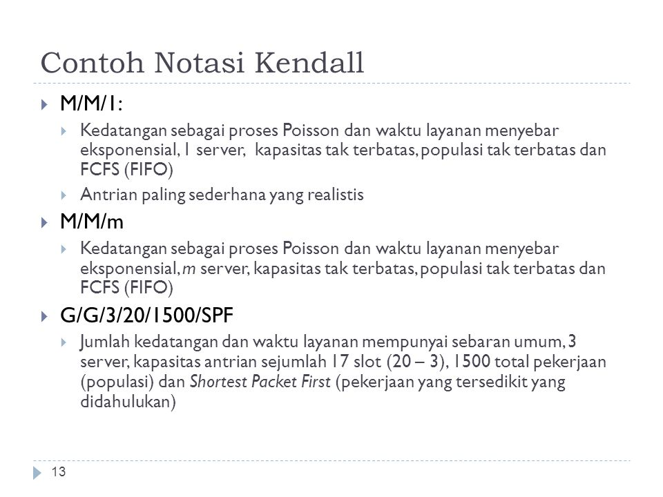 Contoh Notasi Kendall M/M/1: M/M/m G/G/3/20/1500/SPF