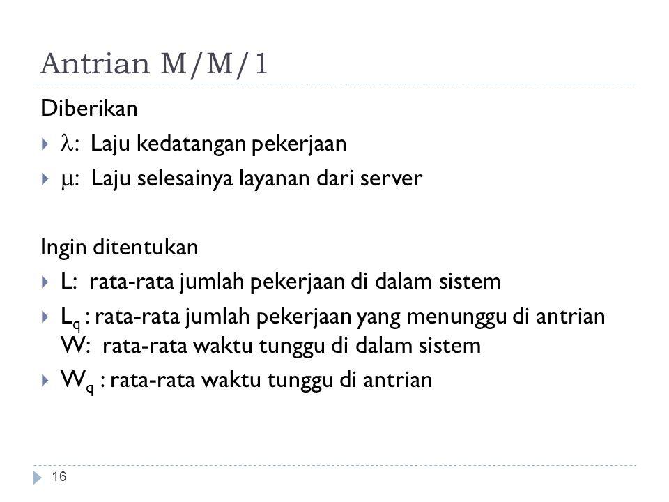 Antrian M/M/1 Diberikan l: Laju kedatangan pekerjaan