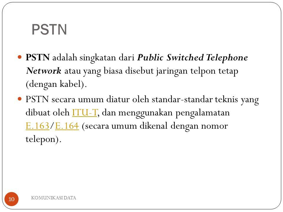 PSTN PSTN adalah singkatan dari Public Switched Telephone Network atau yang biasa disebut jaringan telpon tetap (dengan kabel).