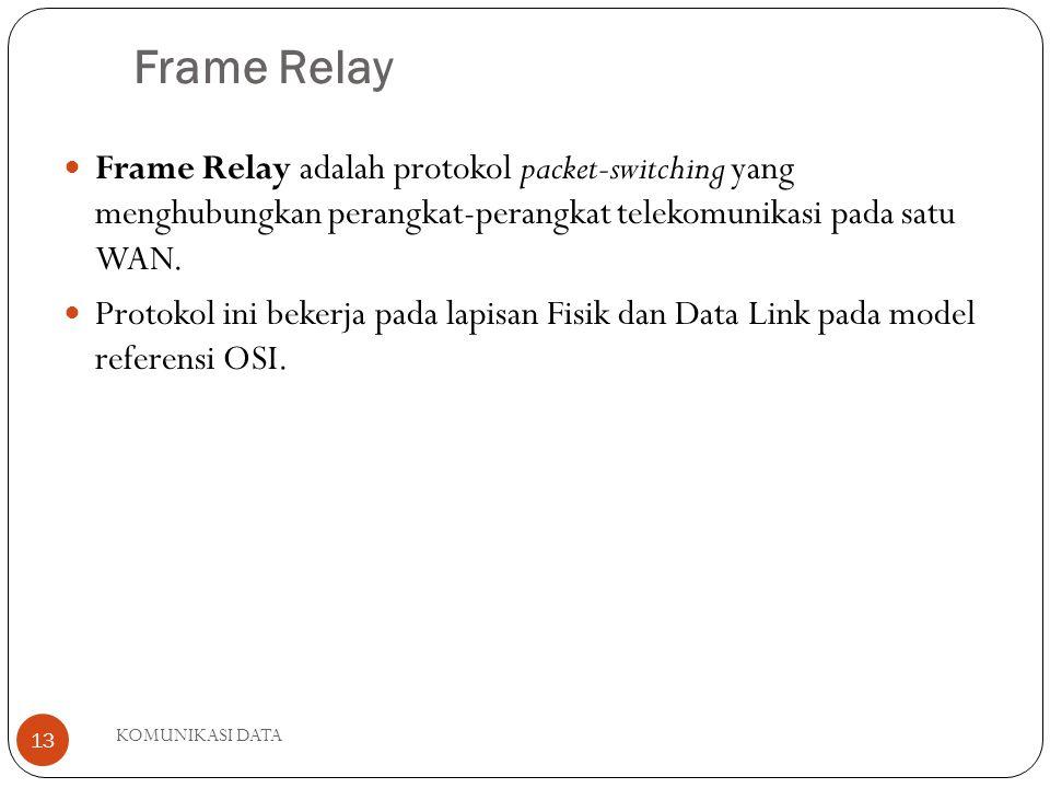 Frame Relay Frame Relay adalah protokol packet-switching yang menghubungkan perangkat-perangkat telekomunikasi pada satu WAN.