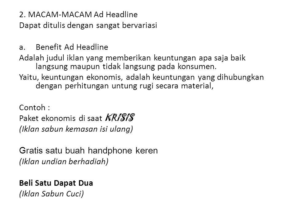 2. MACAM-MACAM Ad Headline