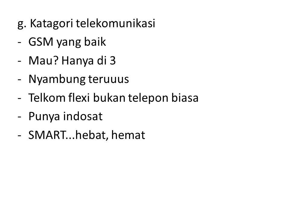 g. Katagori telekomunikasi