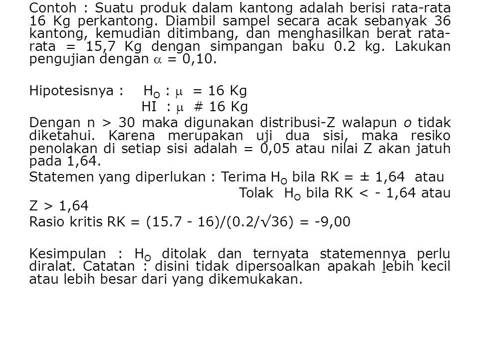 Contoh : Suatu produk dalam kantong adalah berisi rata-rata 16 Kg perkantong.