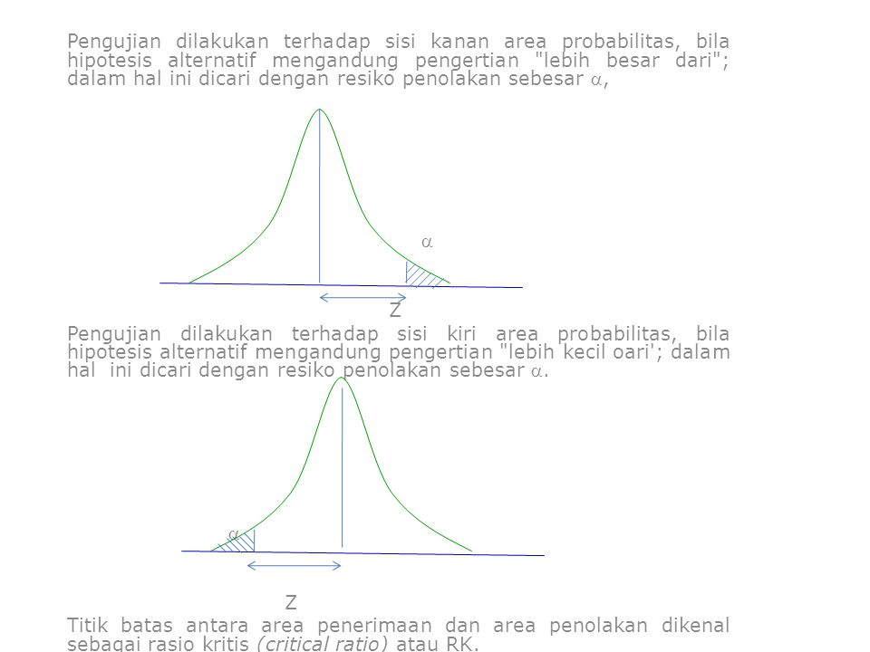Pengujian dilakukan terhadap sisi kanan area probabilitas, bila hipotesis alternatif mengandung pengertian lebih besar dari ; dalam hal ini dicari dengan resiko penolakan sebesar ,