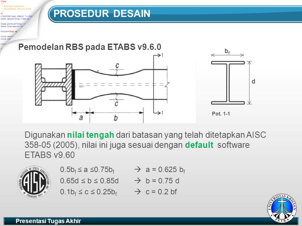 PROSEDUR DESAIN Pemodelan RBS pada ETABS v9.6.0