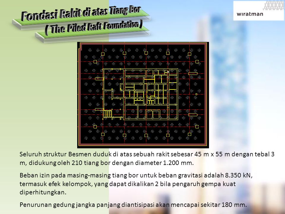 Fondasi Rakit di atas Tiang Bor ( The Piled Raft Foundation )