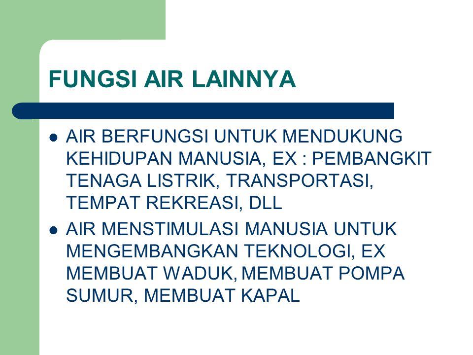 FUNGSI AIR LAINNYA AIR BERFUNGSI UNTUK MENDUKUNG KEHIDUPAN MANUSIA, EX : PEMBANGKIT TENAGA LISTRIK, TRANSPORTASI, TEMPAT REKREASI, DLL.