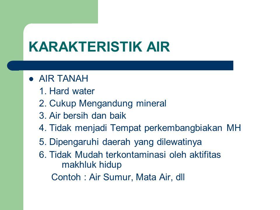 KARAKTERISTIK AIR 5. Dipengaruhi daerah yang dilewatinya AIR TANAH
