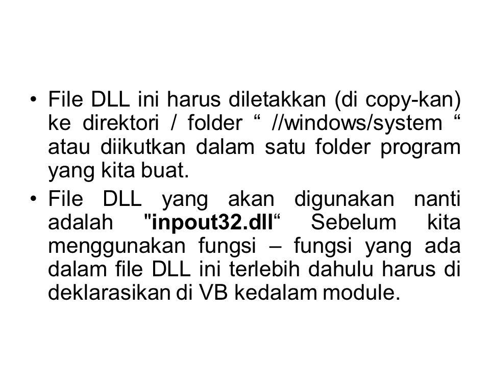 File DLL ini harus diletakkan (di copy-kan) ke direktori / folder //windows/system atau diikutkan dalam satu folder program yang kita buat.