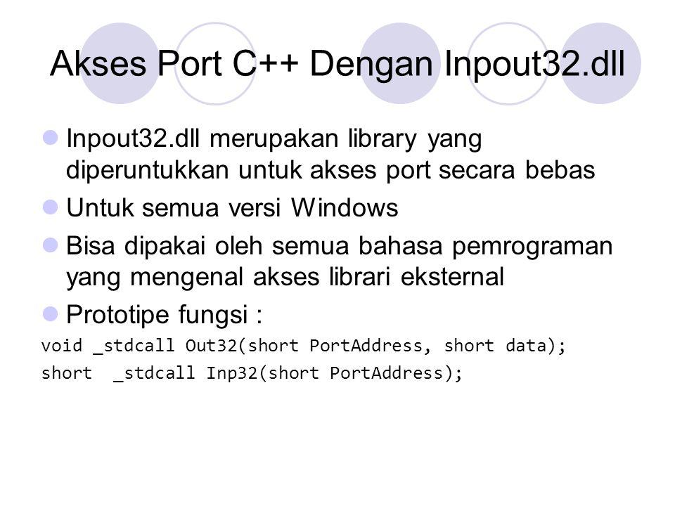 Akses Port C++ Dengan Inpout32.dll