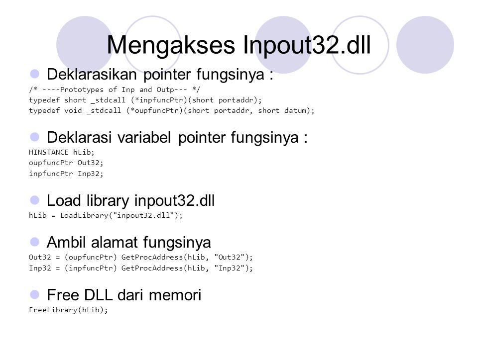 Mengakses Inpout32.dll Deklarasikan pointer fungsinya :