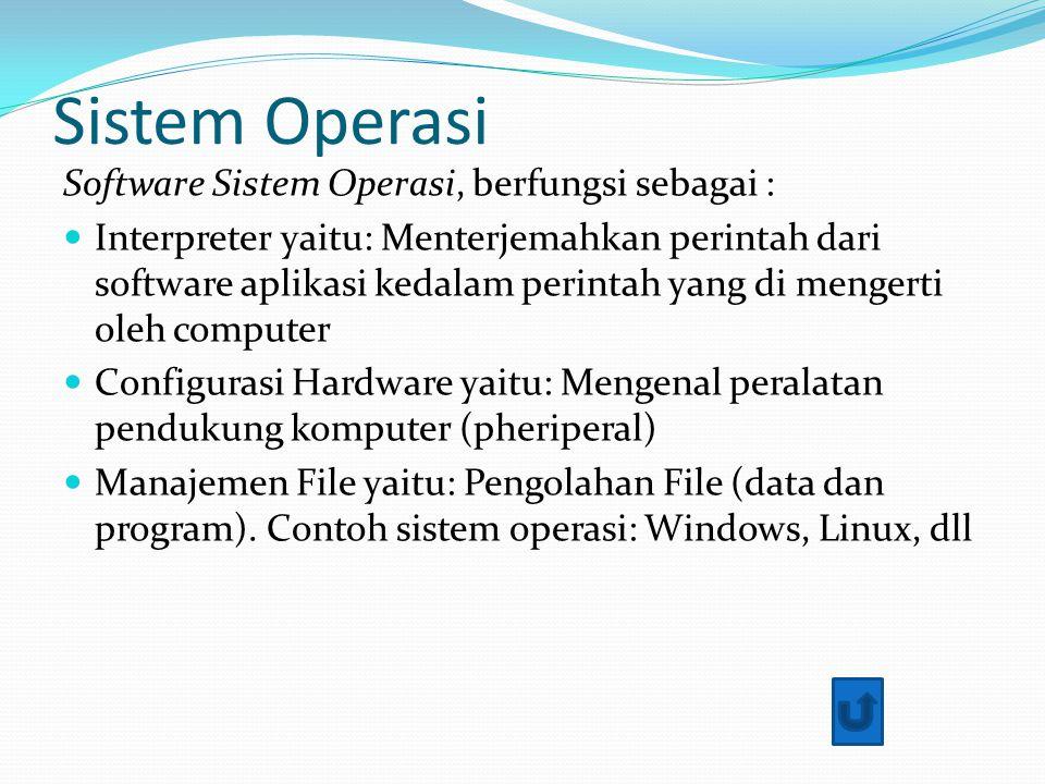 Sistem Operasi Software Sistem Operasi, berfungsi sebagai :