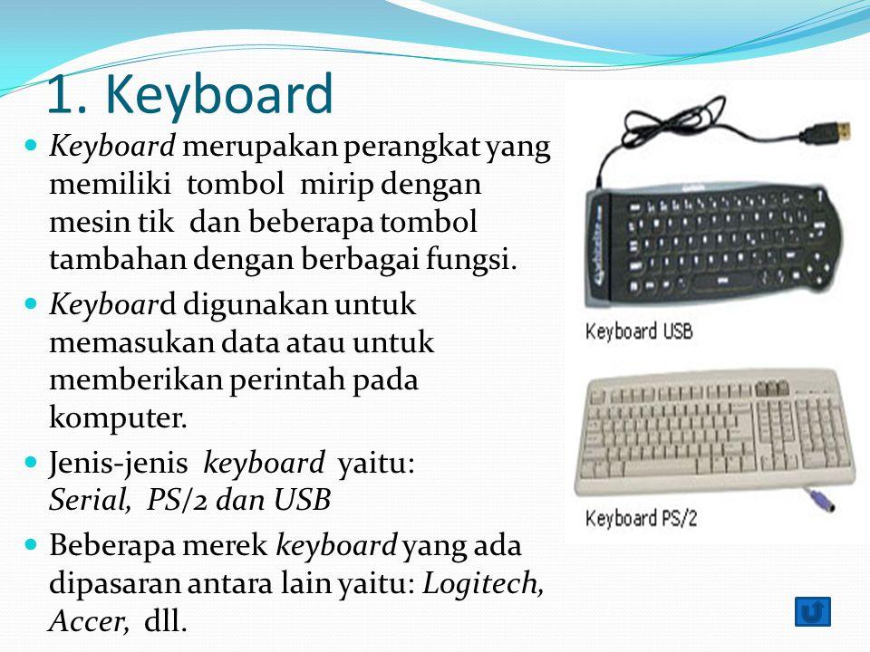1. Keyboard Keyboard merupakan perangkat yang memiliki tombol mirip dengan mesin tik dan beberapa tombol tambahan dengan berbagai fungsi.