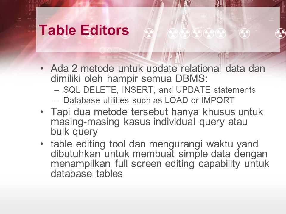 Table Editors Ada 2 metode untuk update relational data dan dimiliki oleh hampir semua DBMS: SQL DELETE, INSERT, and UPDATE statements.
