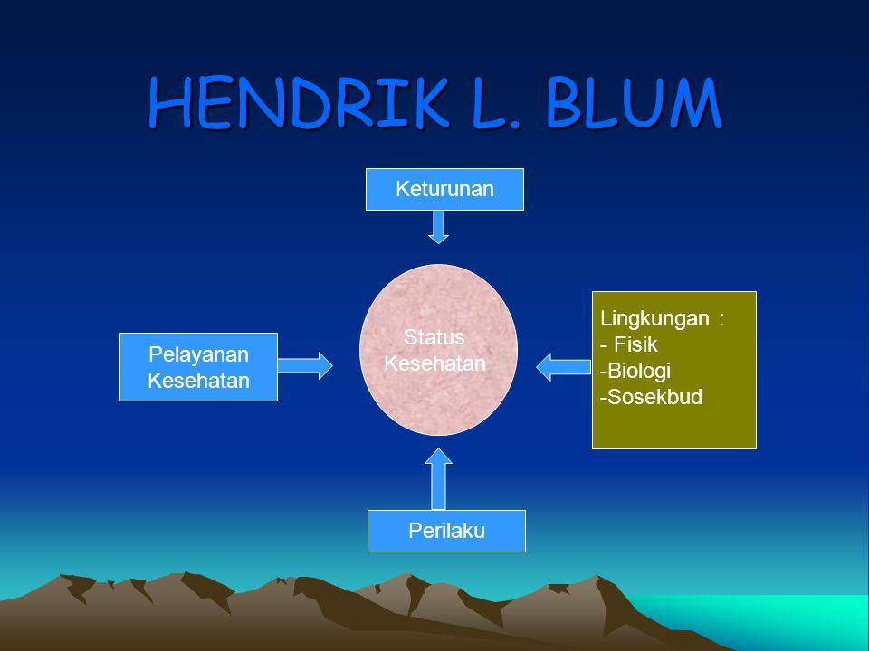 HENDRIK L. BLUM Keturunan Status Lingkungan : Kesehatan - Fisik