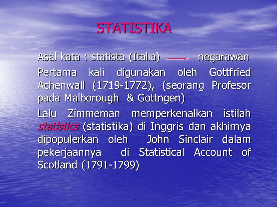 STATISTIKA Asal kata : statista (Italia) negarawan