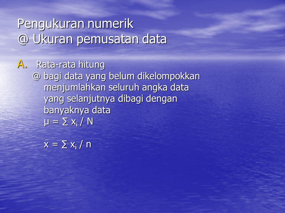 Pengukuran numerik @ Ukuran pemusatan data