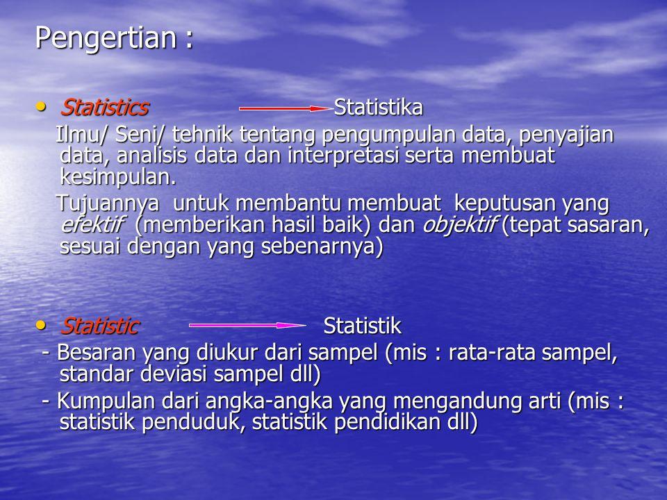 Pengertian : Statistics Statistika