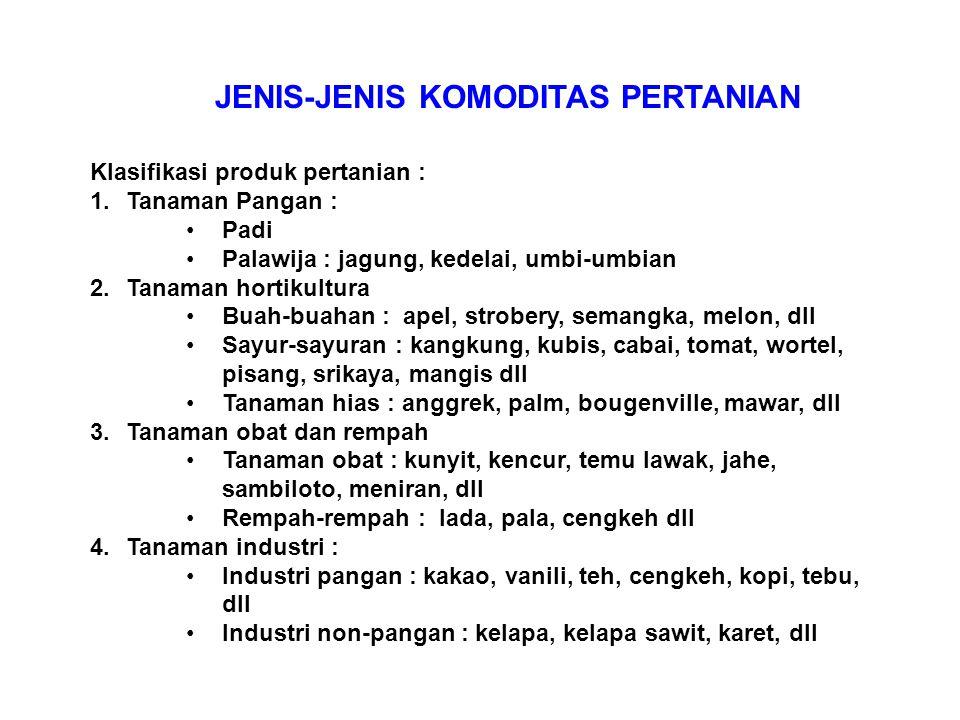 JENIS-JENIS KOMODITAS PERTANIAN
