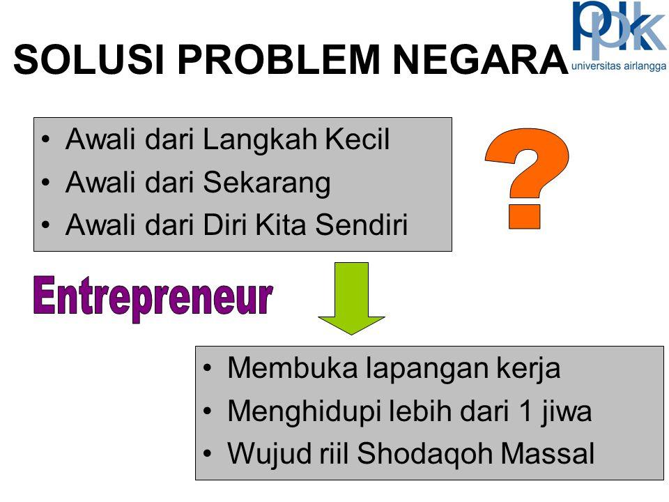 SOLUSI PROBLEM NEGARA Entrepreneur Awali dari Langkah Kecil