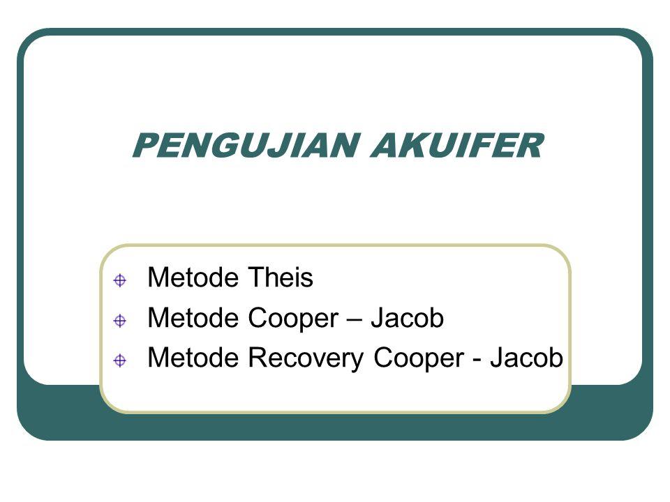 PENGUJIAN AKUIFER Metode Theis Metode Cooper – Jacob