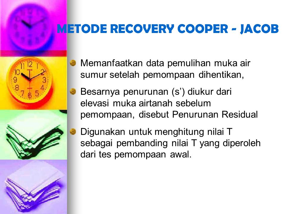 METODE RECOVERY COOPER - JACOB