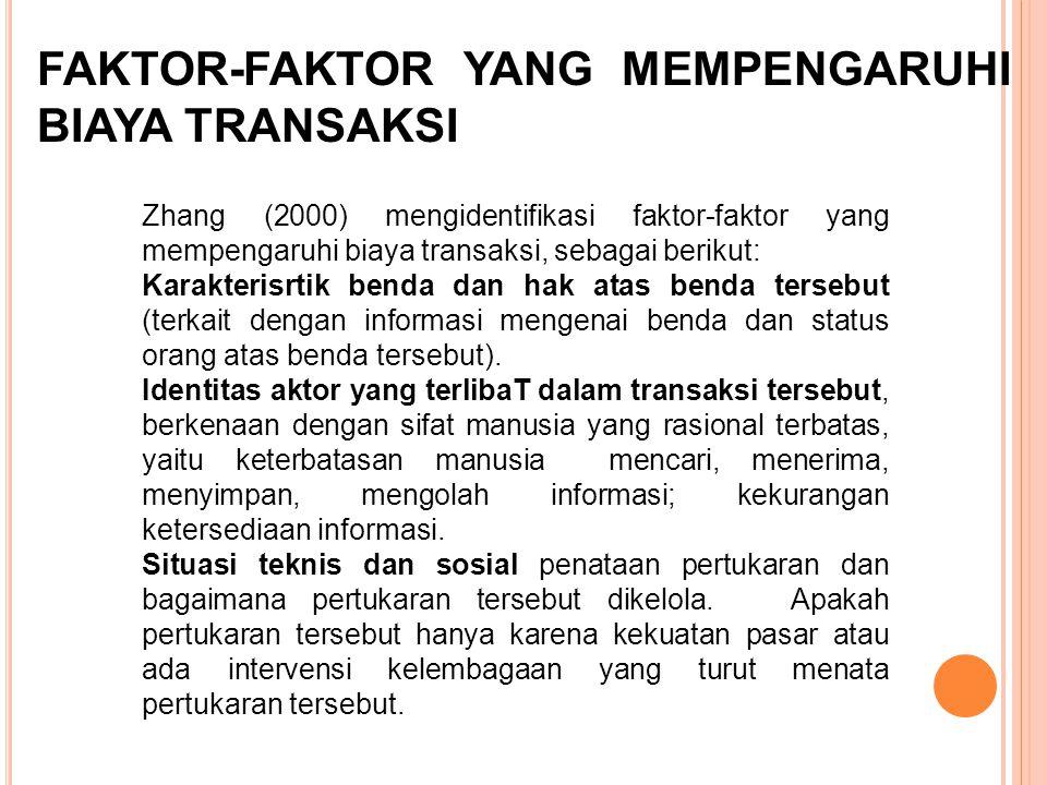 FAKTOR-FAKTOR YANG MEMPENGARUHI BIAYA TRANSAKSI