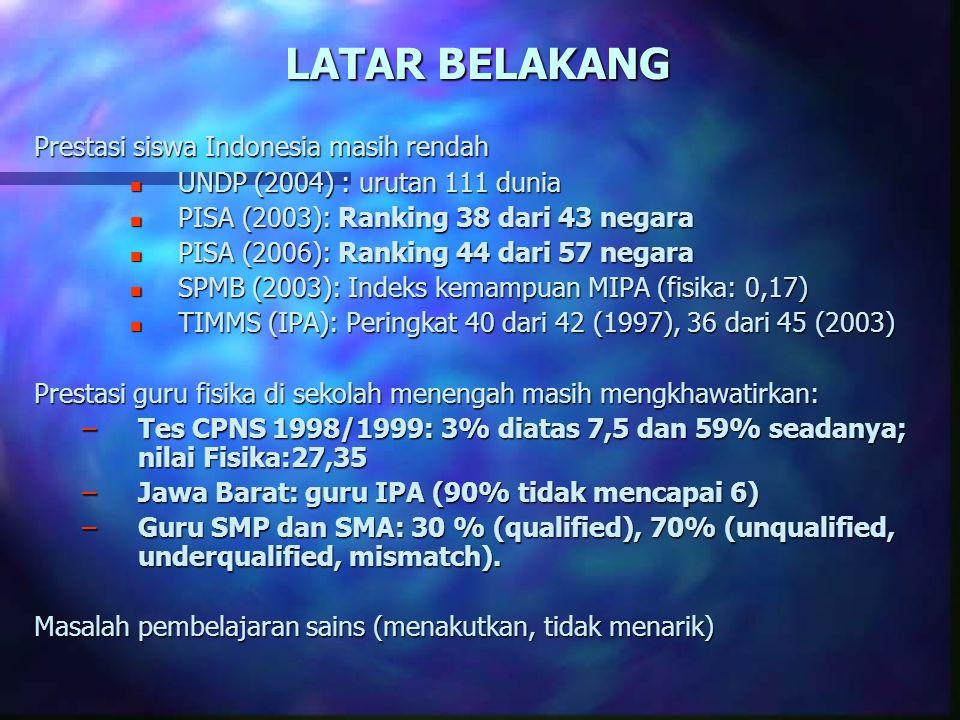 LATAR BELAKANG Prestasi siswa Indonesia masih rendah