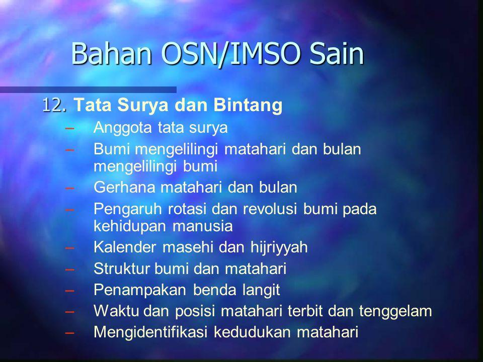 Bahan OSN/IMSO Sain 12. Tata Surya dan Bintang Anggota tata surya