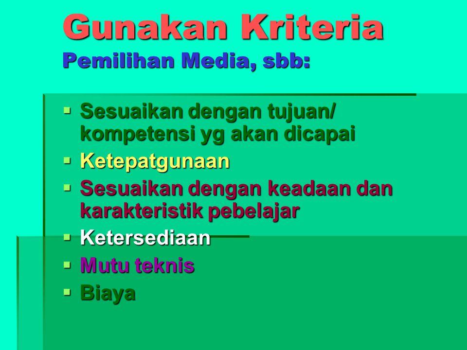 Gunakan Kriteria Pemilihan Media, sbb: