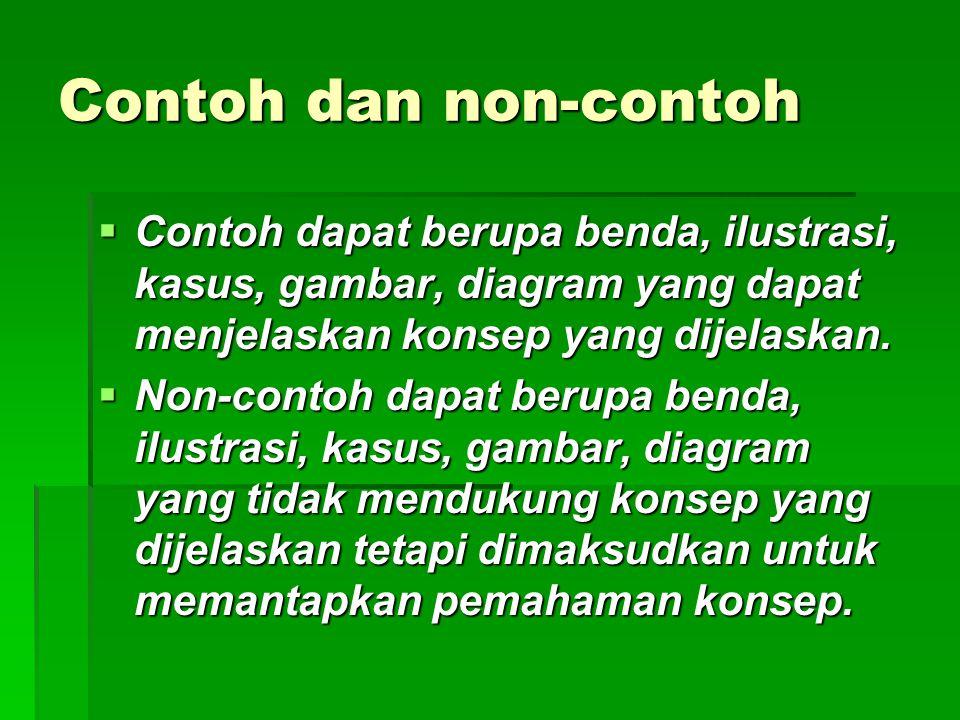 Contoh dan non-contoh Contoh dapat berupa benda, ilustrasi, kasus, gambar, diagram yang dapat menjelaskan konsep yang dijelaskan.