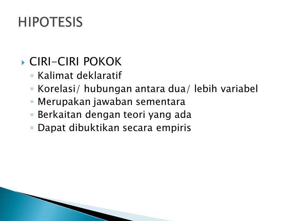 HIPOTESIS CIRI-CIRI POKOK Kalimat deklaratif