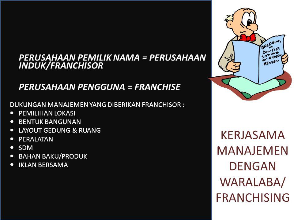 KERJASAMA MANAJEMEN DENGAN WARALABA/ FRANCHISING