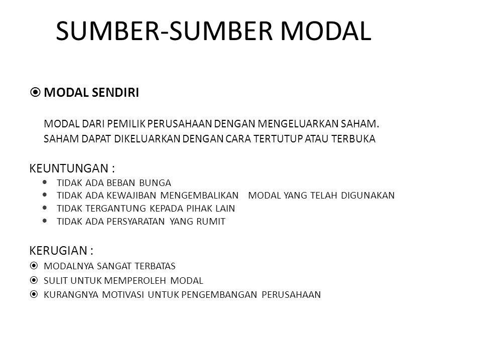 SUMBER-SUMBER MODAL MODAL SENDIRI KEUNTUNGAN : KERUGIAN :